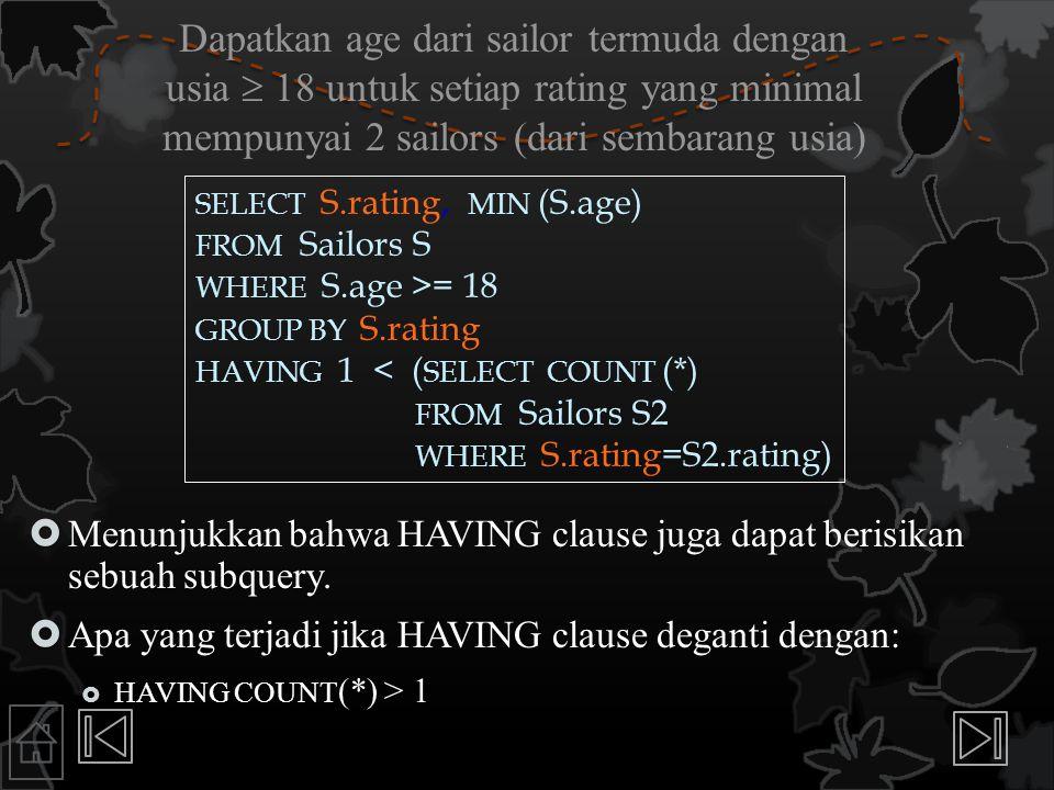 Dapatkan age dari sailor termuda dengan usia  18 untuk setiap rating yang minimal mempunyai 2 sailors (dari sembarang usia)  Menunjukkan bahwa HAVIN