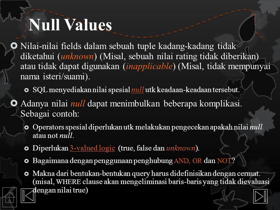 Null Values  Nilai-nilai fields dalam sebuah tuple kadang-kadang tidak diketahui (unknown) (Misal, sebuah nilai rating tidak diberikan) atau tidak da