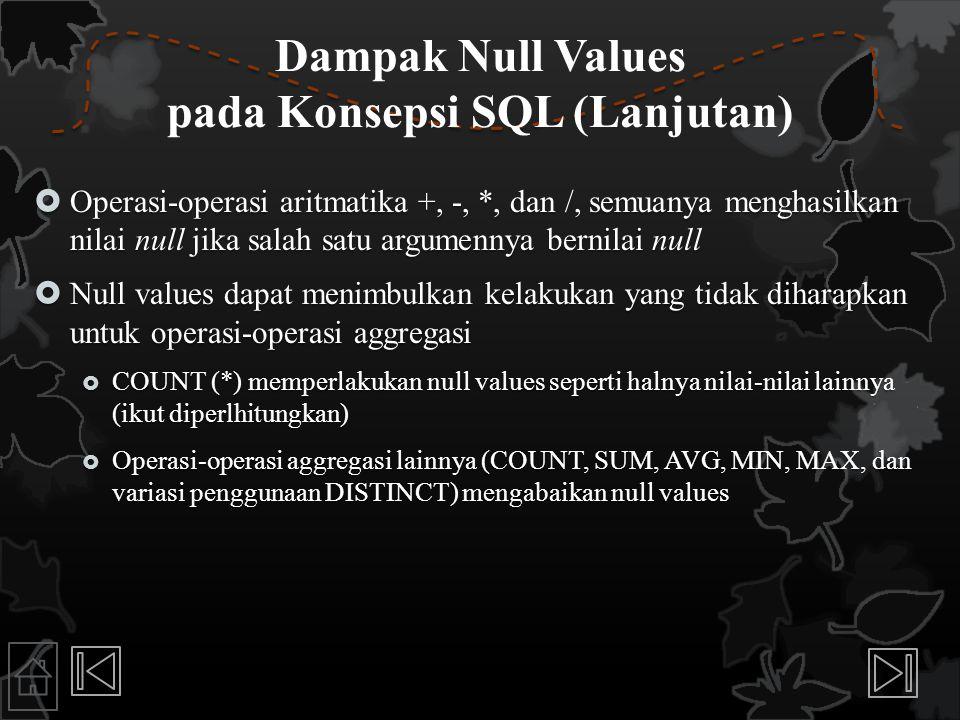 Dampak Null Values pada Konsepsi SQL (Lanjutan)  Operasi-operasi aritmatika +, -, *, dan /, semuanya menghasilkan nilai null jika salah satu argumenn