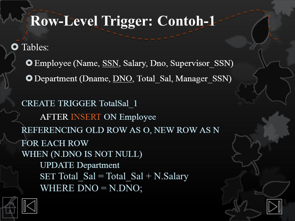 Row-Level Trigger: Contoh-1  Tables:  Employee (Name, SSN, Salary, Dno, Supervisor_SSN)  Department (Dname, DNO, Total_Sal, Manager_SSN) CREATE TRI