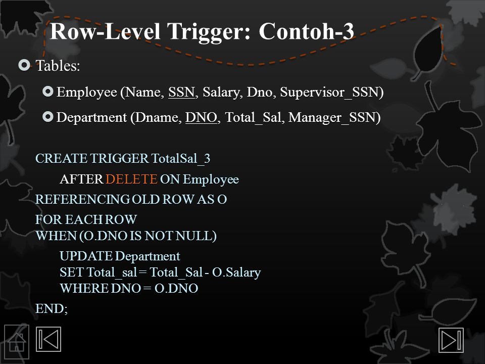 Row-Level Trigger: Contoh-3  Tables:  Employee (Name, SSN, Salary, Dno, Supervisor_SSN)  Department (Dname, DNO, Total_Sal, Manager_SSN) CREATE TRI