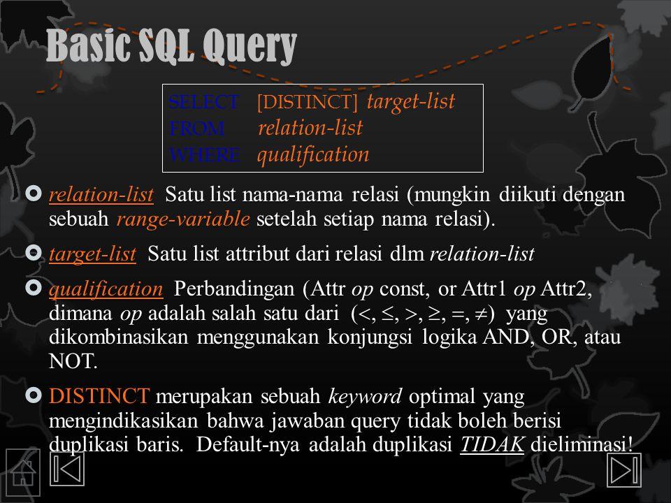 Basic SQL Query  relation-list Satu list nama-nama relasi (mungkin diikuti dengan sebuah range-variable setelah setiap nama relasi).  target-list Sa