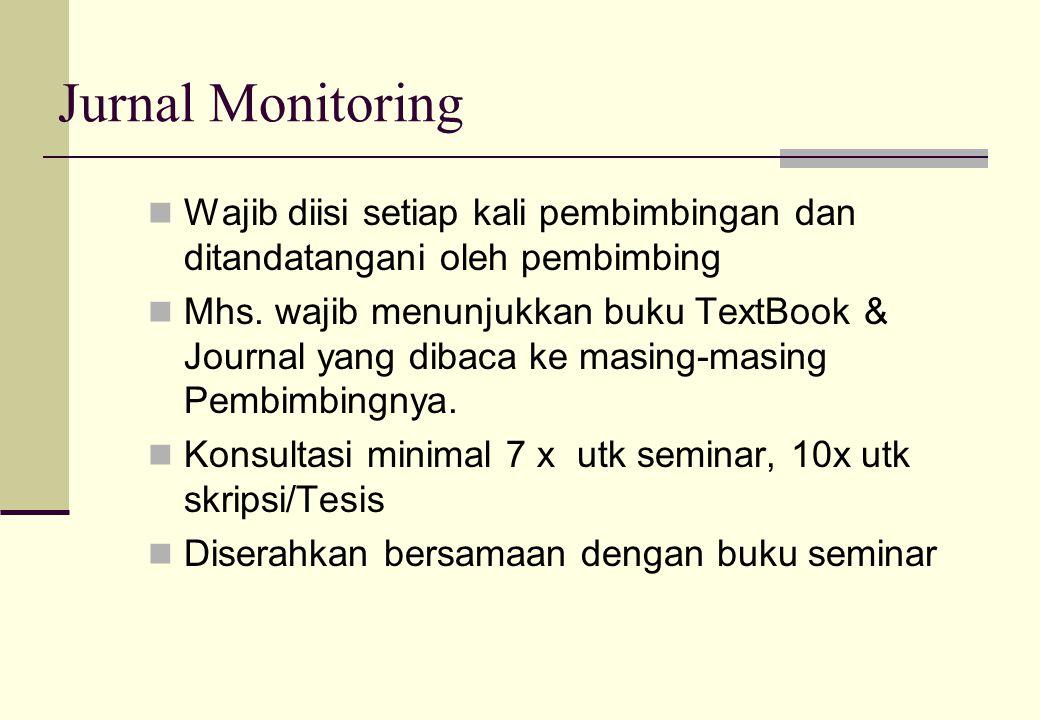 Jurnal Monitoring Wajib diisi setiap kali pembimbingan dan ditandatangani oleh pembimbing Mhs. wajib menunjukkan buku TextBook & Journal yang dibaca k