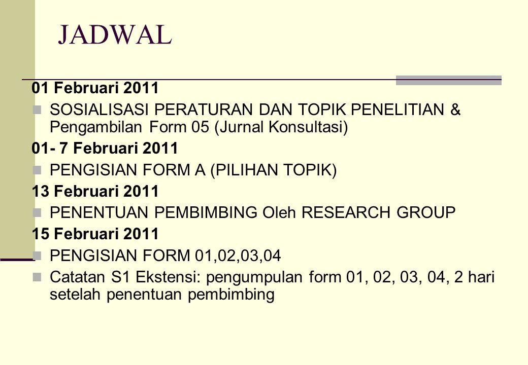 JADWAL 01 Februari 2011 SOSIALISASI PERATURAN DAN TOPIK PENELITIAN & Pengambilan Form 05 (Jurnal Konsultasi) 01- 7 Februari 2011 PENGISIAN FORM A (PIL