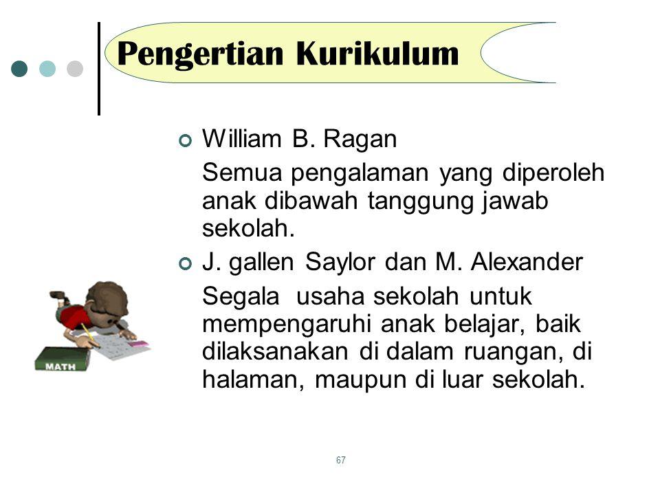 67 Pengertian Kurikulum William B. Ragan Semua pengalaman yang diperoleh anak dibawah tanggung jawab sekolah. J. gallen Saylor dan M. Alexander Segala