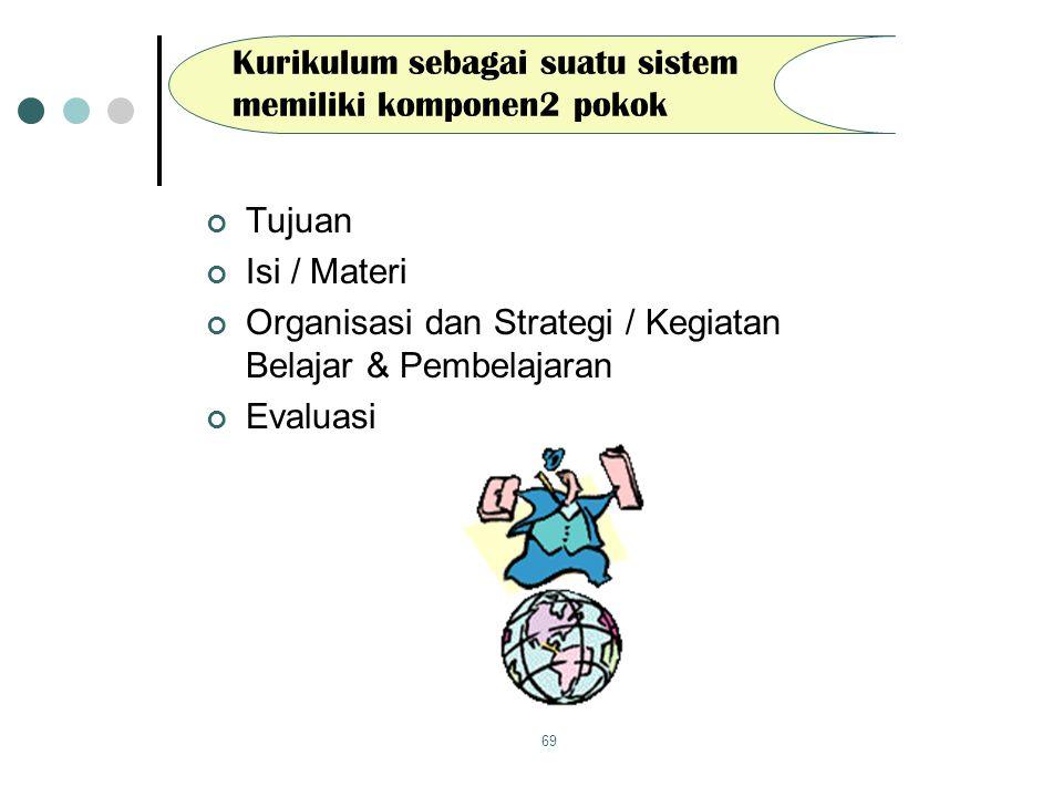 69 Kurikulum sebagai suatu sistem memiliki komponen2 pokok Tujuan Isi / Materi Organisasi dan Strategi / Kegiatan Belajar & Pembelajaran Evaluasi