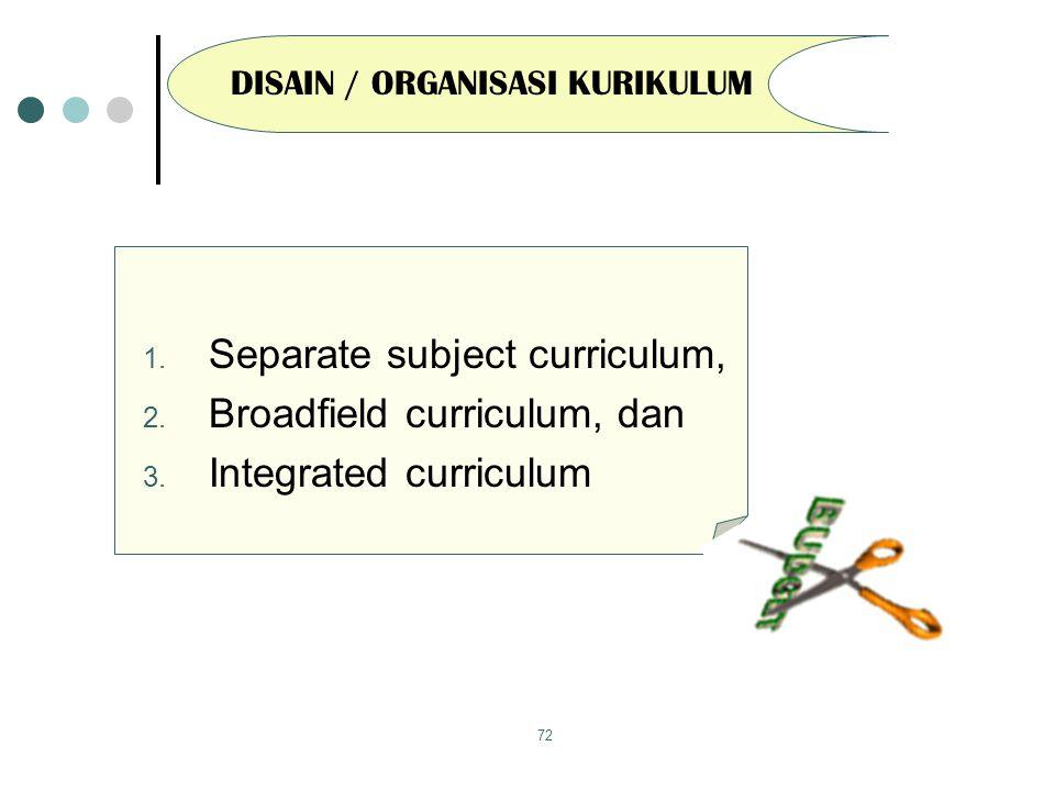 72 DISAIN / ORGANISASI KURIKULUM 1.Separate subject curriculum, 2.