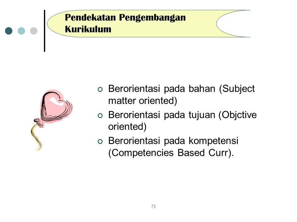73 Pendekatan Pengembangan Kurikulum Berorientasi pada bahan (Subject matter oriented) Berorientasi pada tujuan (Objctive oriented) Berorientasi pada kompetensi (Competencies Based Curr).