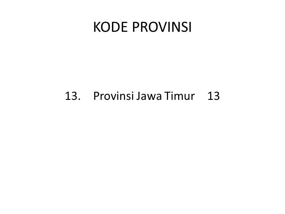 KODE PROVINSI 13.Provinsi Jawa Timur13