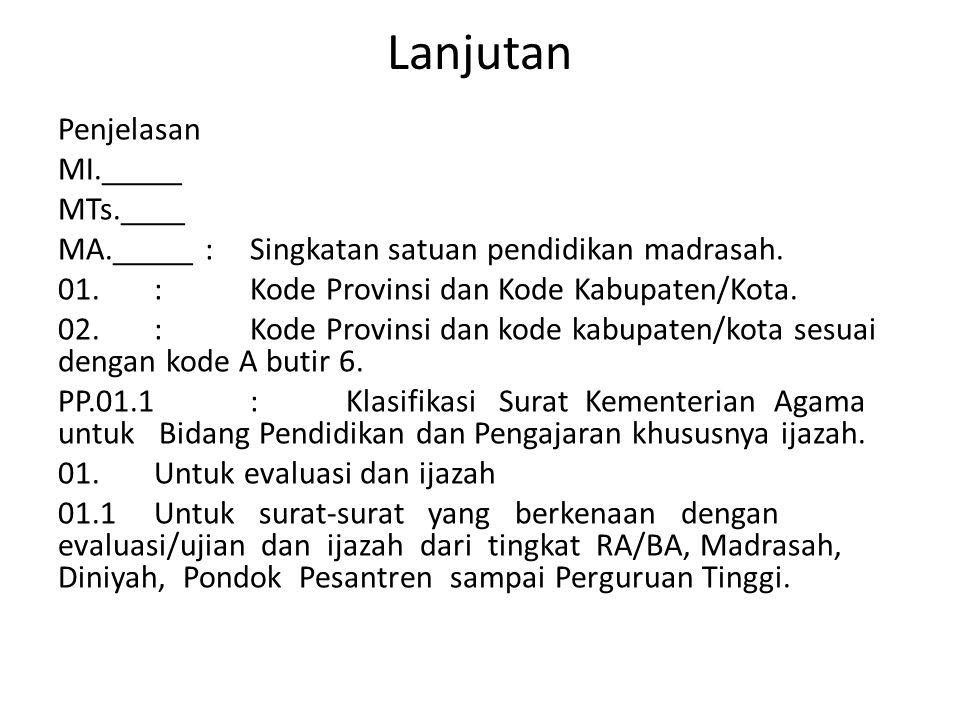 Lanjutan Penjelasan MI._____ MTs.____ MA._____ :Singkatan satuan pendidikan madrasah. 01.:Kode Provinsi dan Kode Kabupaten/Kota. 02.:Kode Provinsi dan