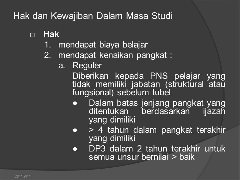 Hak dan Kewajiban Dalam Masa Studi □Hak 1.mendapat biaya belajar 2.mendapat kenaikan pangkat : a.Reguler Diberikan kepada PNS pelajar yang tidak memil
