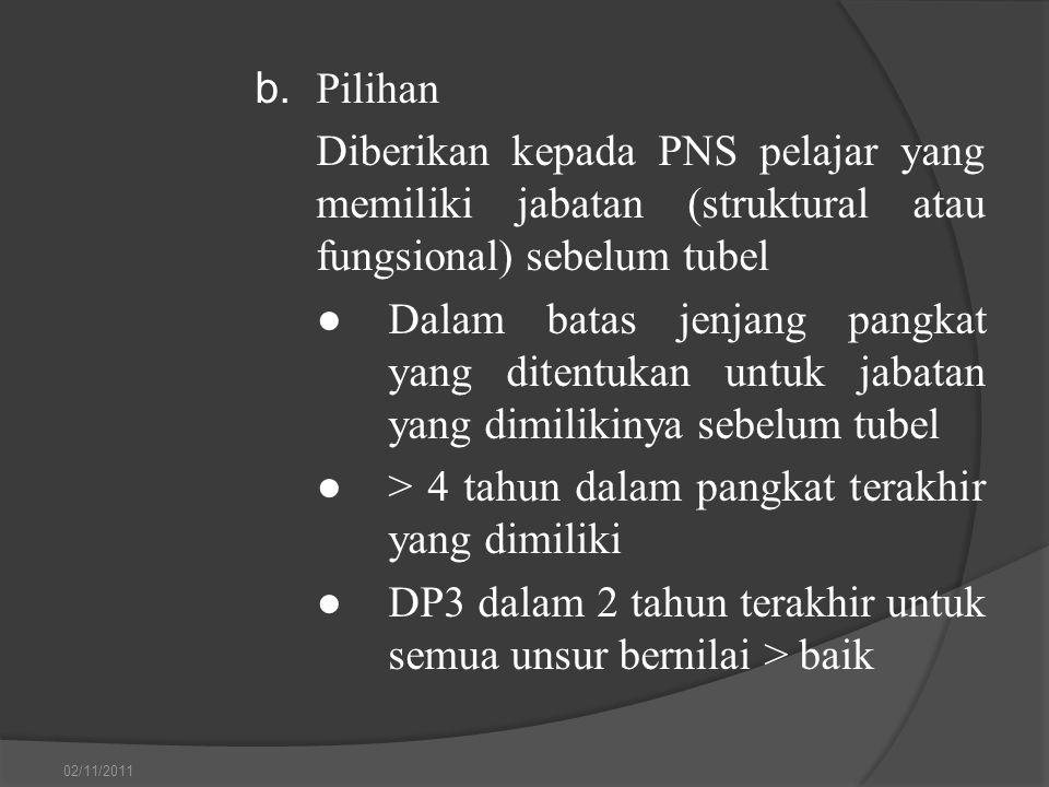 b. Pilihan Diberikan kepada PNS pelajar yang memiliki jabatan (struktural atau fungsional) sebelum tubel ●Dalam batas jenjang pangkat yang ditentukan