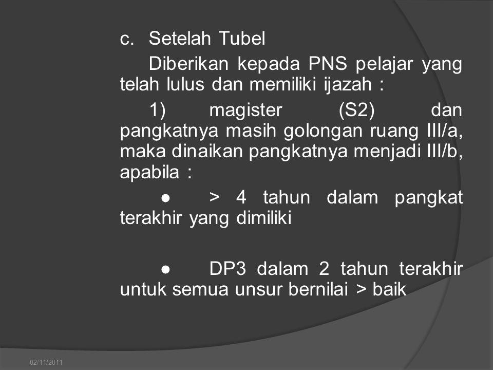 c.Setelah Tubel Diberikan kepada PNS pelajar yang telah lulus dan memiliki ijazah : 1)magister (S2) dan pangkatnya masih golongan ruang III/a, maka di