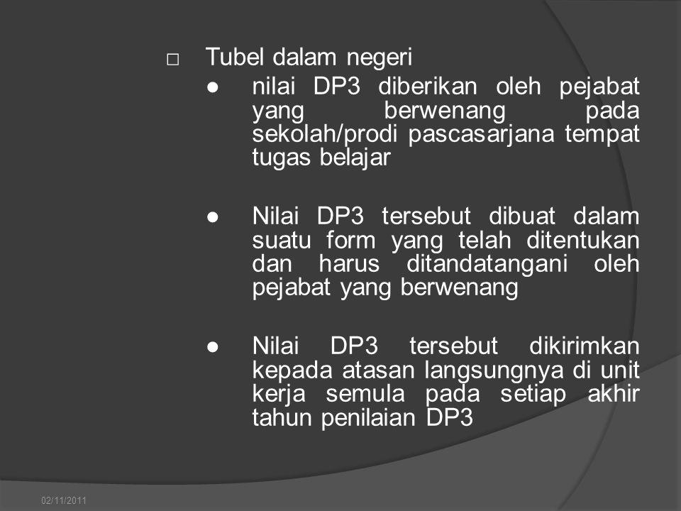 □Tubel dalam negeri ●nilai DP3 diberikan oleh pejabat yang berwenang pada sekolah/prodi pascasarjana tempat tugas belajar ●Nilai DP3 tersebut dibuat d