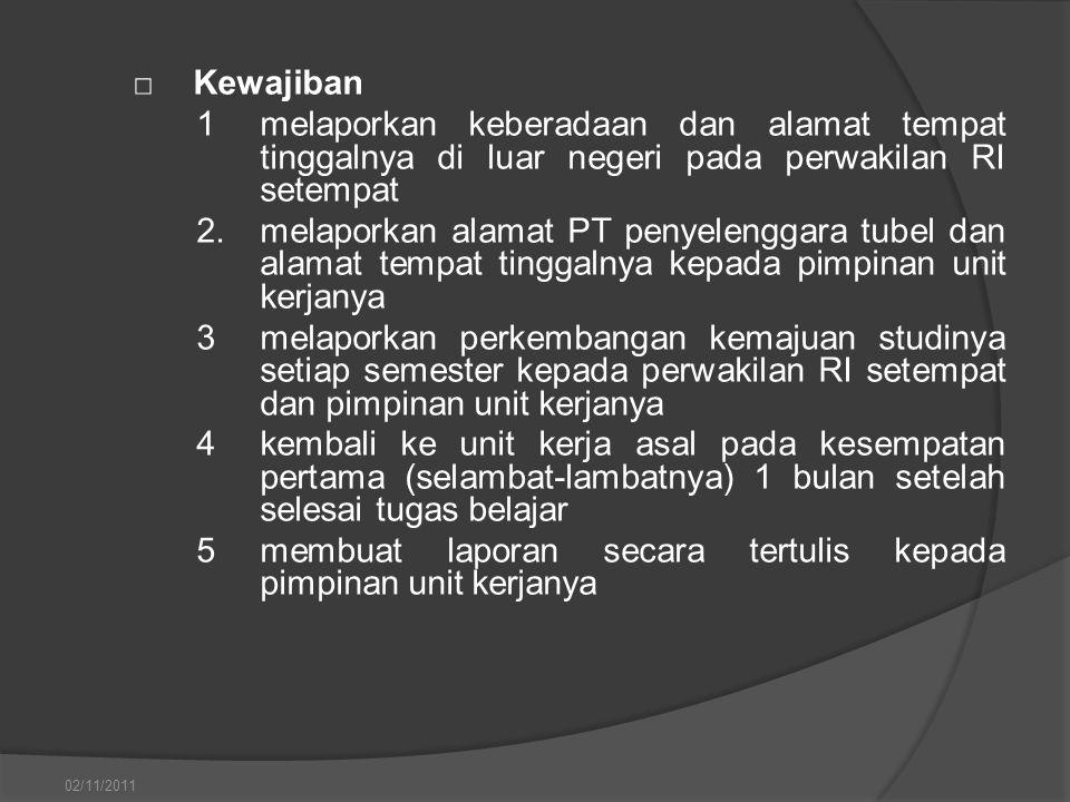 □Kewajiban 1melaporkan keberadaan dan alamat tempat tinggalnya di luar negeri pada perwakilan RI setempat 2.melaporkan alamat PT penyelenggara tubel d