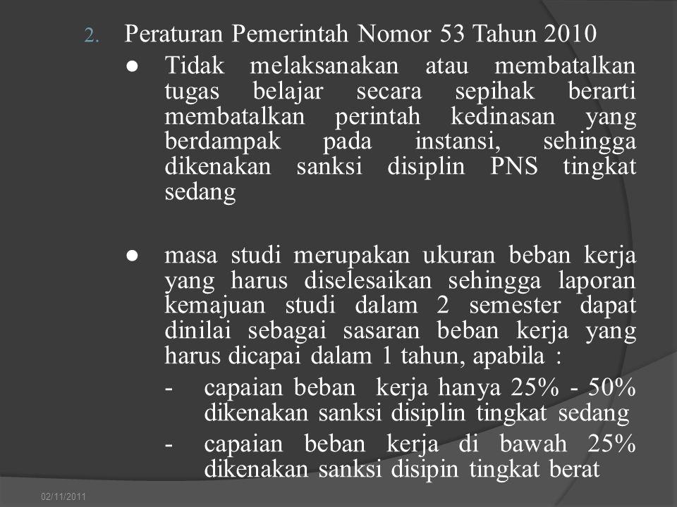 2. Peraturan Pemerintah Nomor 53 Tahun 2010 ●Tidak melaksanakan atau membatalkan tugas belajar secara sepihak berarti membatalkan perintah kedinasan y
