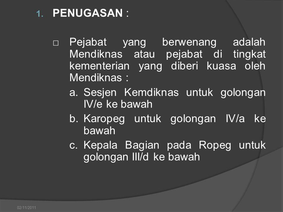 1. PENUGASAN : □Pejabat yang berwenang adalah Mendiknas atau pejabat di tingkat kementerian yang diberi kuasa oleh Mendiknas : a.Sesjen Kemdiknas untu