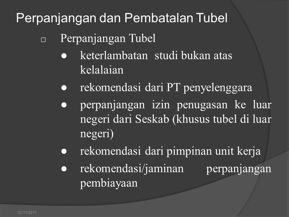 Perpanjangan dan Pembatalan Tubel □ Perpanjangan Tubel ●keterlambatan studi bukan atas kelalaian ●rekomendasi dari PT penyelenggara ●perpanjangan izin