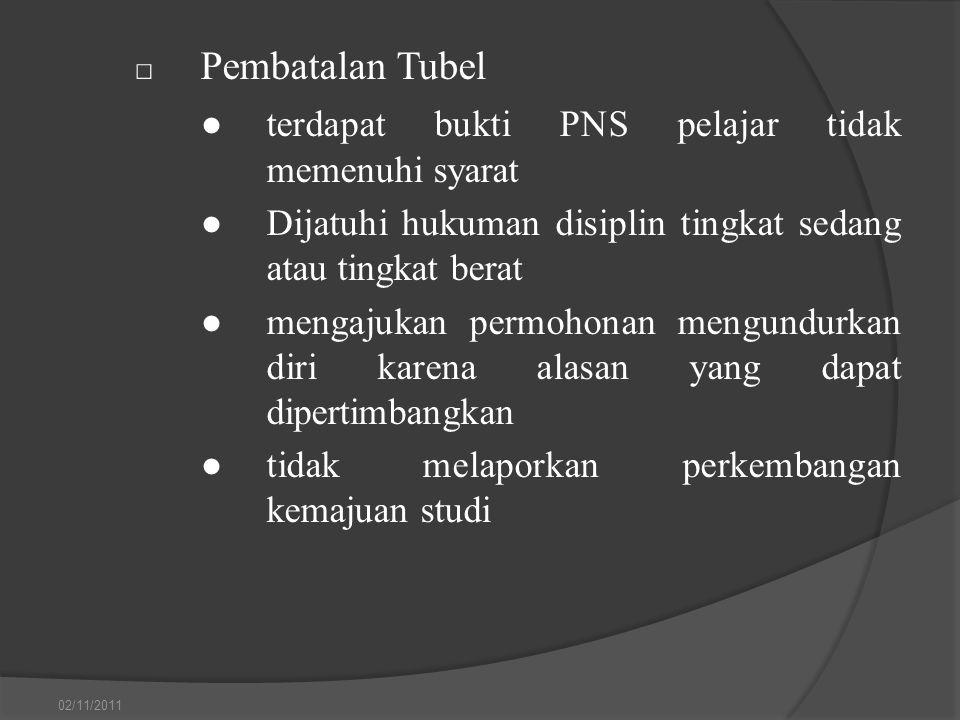 □ Pembatalan Tubel ●terdapat bukti PNS pelajar tidak memenuhi syarat ●Dijatuhi hukuman disiplin tingkat sedang atau tingkat berat ●mengajukan permohon