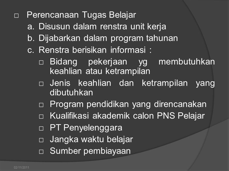□Perencanaan Tugas Belajar a.Disusun dalam renstra unit kerja b.Dijabarkan dalam program tahunan c.Renstra berisikan informasi : □Bidang pekerjaan yg