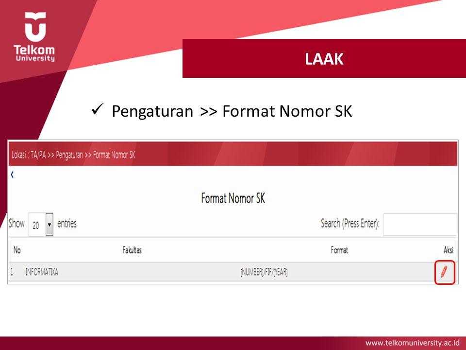 LAAK Pengaturan >> Format Nomor SK