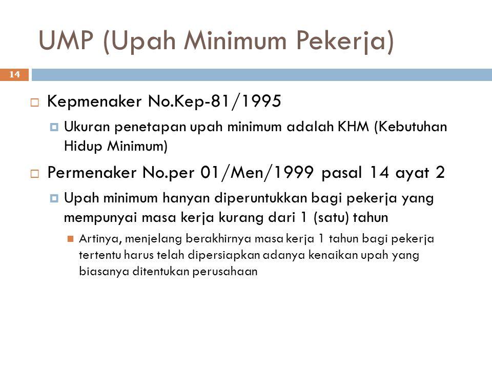 UMP (Upah Minimum Pekerja) 14  Kepmenaker No.Kep-81/1995  Ukuran penetapan upah minimum adalah KHM (Kebutuhan Hidup Minimum)  Permenaker No.per 01/