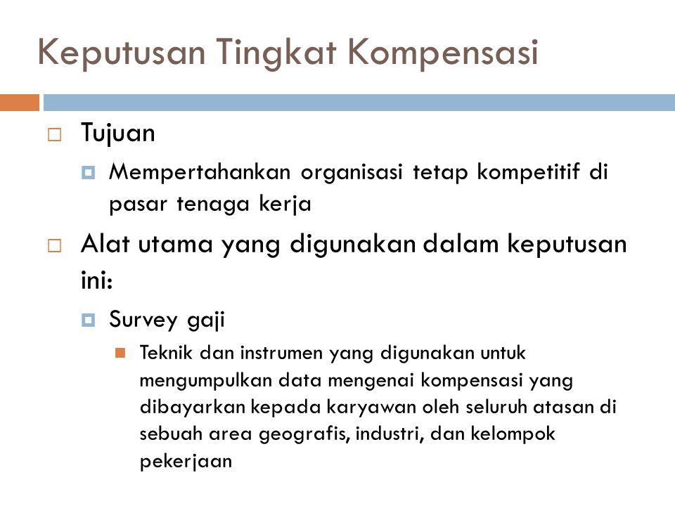 Keputusan Tingkat Kompensasi  Tujuan  Mempertahankan organisasi tetap kompetitif di pasar tenaga kerja  Alat utama yang digunakan dalam keputusan i