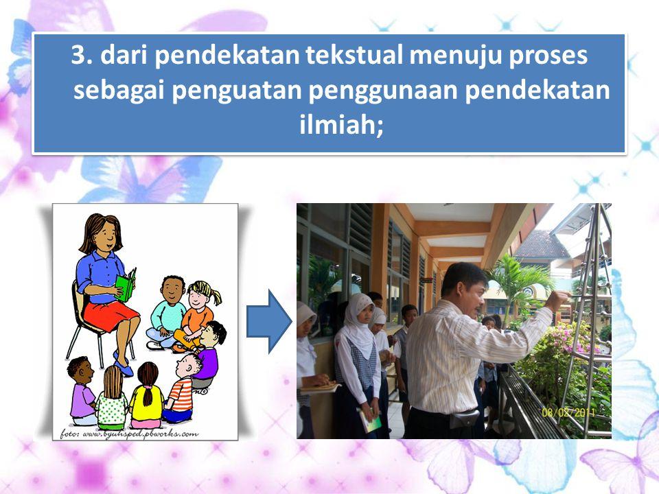 2. dari guru sebagai satu- satunya sumber belajar menjadi belajar berbasis aneka sumber belajar