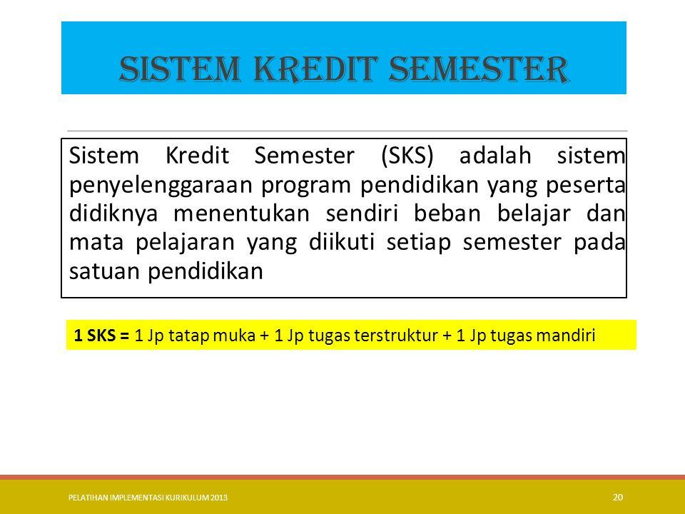 PELATIHAN IMPLEMENTASI KURIKULUM 2013 21 1 SKS = = 120/ 60 = 2 jam Pembelajaran