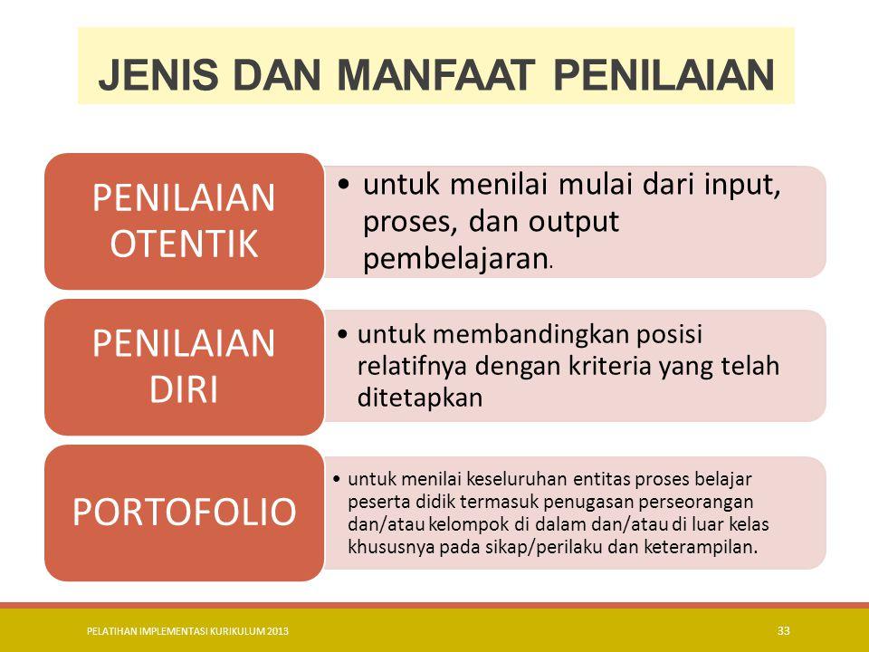 PELATIHAN IMPLEMENTASI KURIKULUM 2013 34 lanjutan untuk menilai kompetensi peserta didik setelah menyelesaikan satu Kompetensi Dasar (KD) atau lebih.