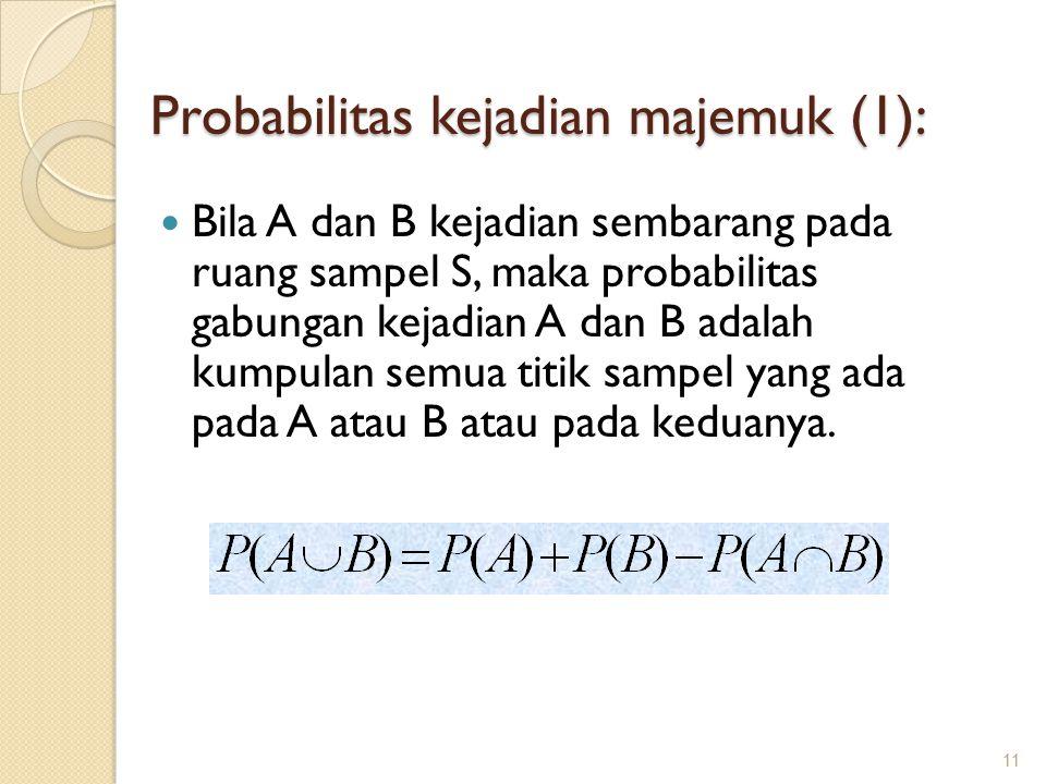 Probabilitas kejadian majemuk (1): Bila A dan B kejadian sembarang pada ruang sampel S, maka probabilitas gabungan kejadian A dan B adalah kumpulan semua titik sampel yang ada pada A atau B atau pada keduanya.