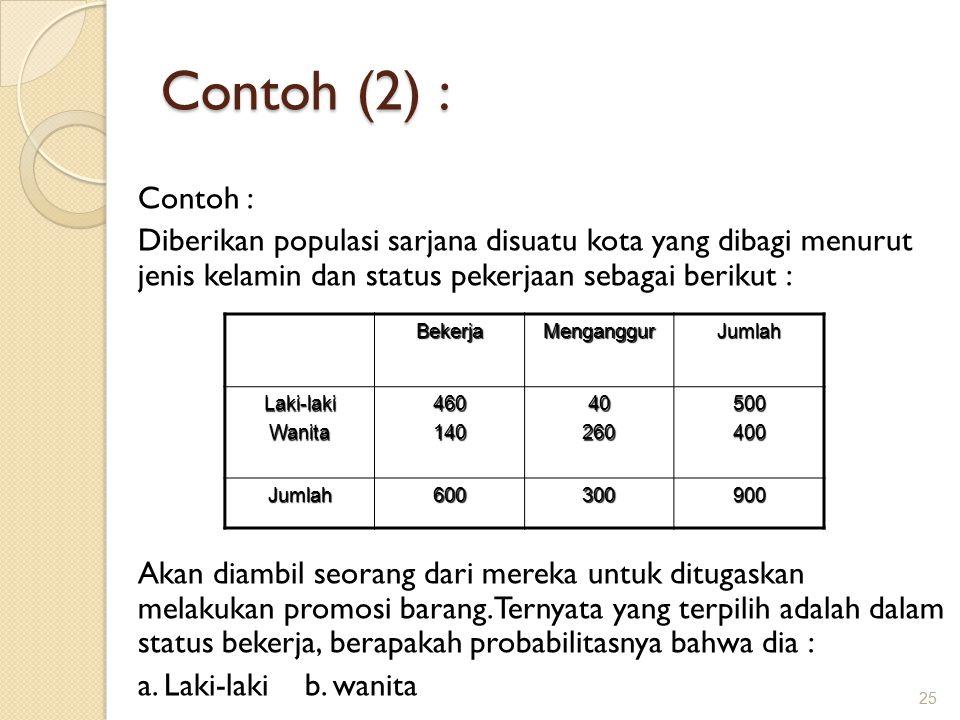 Contoh (2) : 25 Contoh : Diberikan populasi sarjana disuatu kota yang dibagi menurut jenis kelamin dan status pekerjaan sebagai berikut : Akan diambil seorang dari mereka untuk ditugaskan melakukan promosi barang.