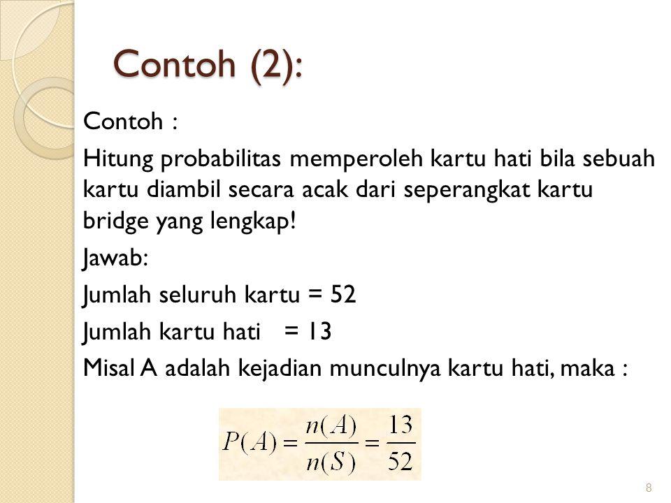 Contoh (2): 8 Contoh : Hitung probabilitas memperoleh kartu hati bila sebuah kartu diambil secara acak dari seperangkat kartu bridge yang lengkap.