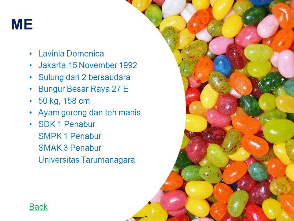 ME Lavinia Domenica Jakarta,15 November 1992 Sulung dari 2 bersaudara Bungur Besar Raya 27 E 50 kg, 158 cm Ayam goreng dan teh manis SDK 1 Penabur SMPK 1 Penabur SMAK 3 Penabur Universitas Tarumanagara Back