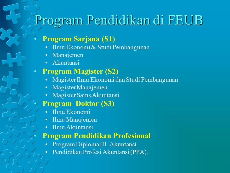 Program Pendidikan di FEUB Program Sarjana (S1) Ilmu Ekonomi & Studi Pembangunan Manajemen Akuntansi Program Magister (S2) Magister Ilmu Ekonomi dan S