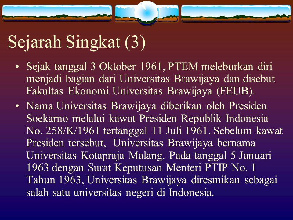 Sejarah Singkat (3) Sejak tanggal 3 Oktober 1961, PTEM meleburkan diri menjadi bagian dari Universitas Brawijaya dan disebut Fakultas Ekonomi Universi