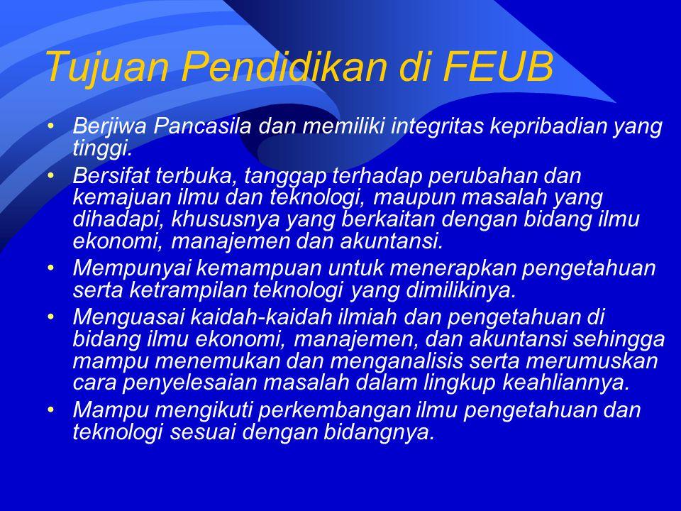 Tujuan Pendidikan di FEUB Berjiwa Pancasila dan memiliki integritas kepribadian yang tinggi. Bersifat terbuka, tanggap terhadap perubahan dan kemajuan