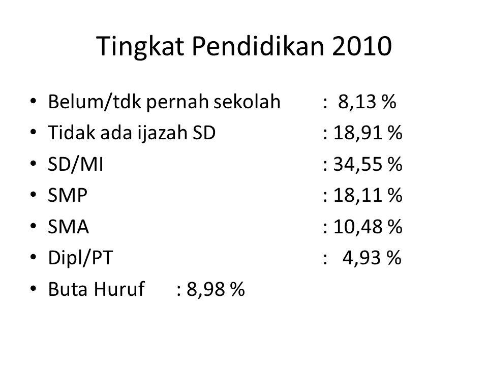 Tingkat Pendidikan 2010 Belum/tdk pernah sekolah: 8,13 % Tidak ada ijazah SD: 18,91 % SD/MI: 34,55 % SMP: 18,11 % SMA: 10,48 % Dipl/PT: 4,93 % Buta Hu