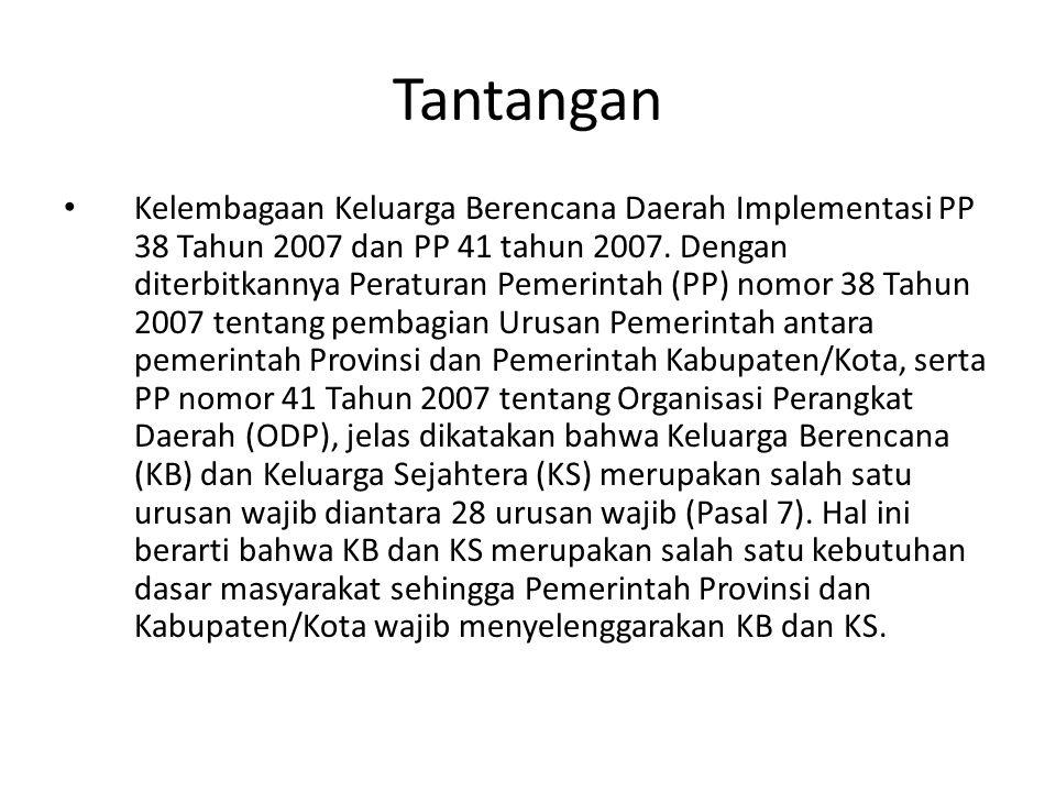 Tantangan Kelembagaan Keluarga Berencana Daerah Implementasi PP 38 Tahun 2007 dan PP 41 tahun 2007. Dengan diterbitkannya Peraturan Pemerintah (PP) no