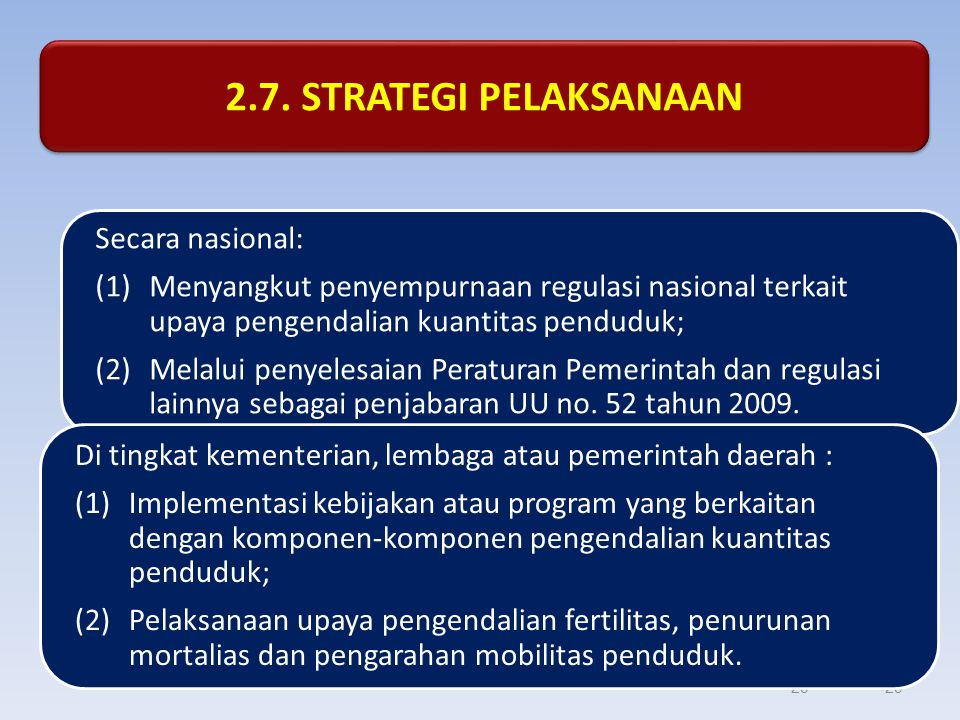 29 2.7. STRATEGI PELAKSANAAN Secara nasional: (1)Menyangkut penyempurnaan regulasi nasional terkait upaya pengendalian kuantitas penduduk; (2)Melalui