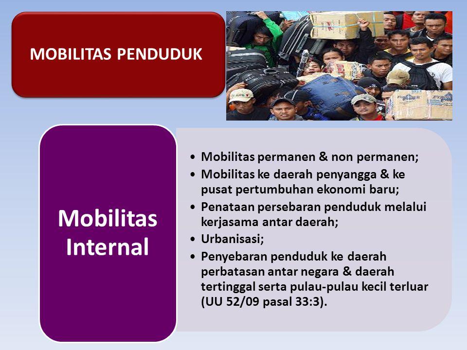 MOBILITAS PENDUDUK Mobilitas permanen & non permanen; Mobilitas ke daerah penyangga & ke pusat pertumbuhan ekonomi baru; Penataan persebaran penduduk