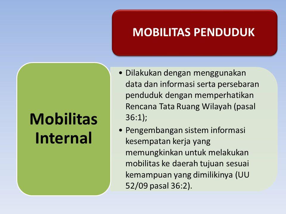 MOBILITAS PENDUDUK Dilakukan dengan menggunakan data dan informasi serta persebaran penduduk dengan memperhatikan Rencana Tata Ruang Wilayah (pasal 36