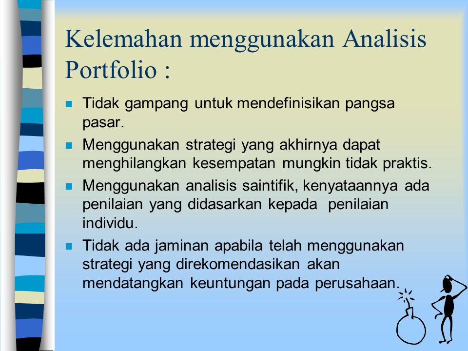 Keuntungan menggunakan Analisis Portfolio : nMnMendorong manajemen puncak untuk melakukan analisis terhadap seluruh perusahaan secara individu. nMnMen