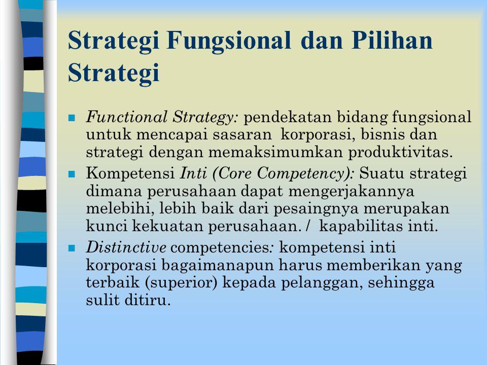 n Corporate Parenting - Memandang perusahaan dalam ukuran sumberdaya dan kemampuannya selain dapat digunakan untuk membangun kesinergian nilai antar u
