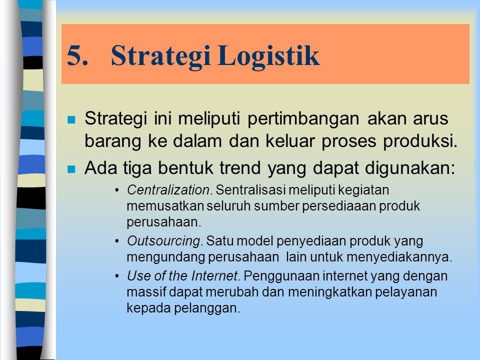 4.Strategi Pembelian n Strategi ini berkaitan dengan ketentuan untuk memperoleh bahan mentah, komponen dan pemasok. n Dalam pembelian barang dapat dit