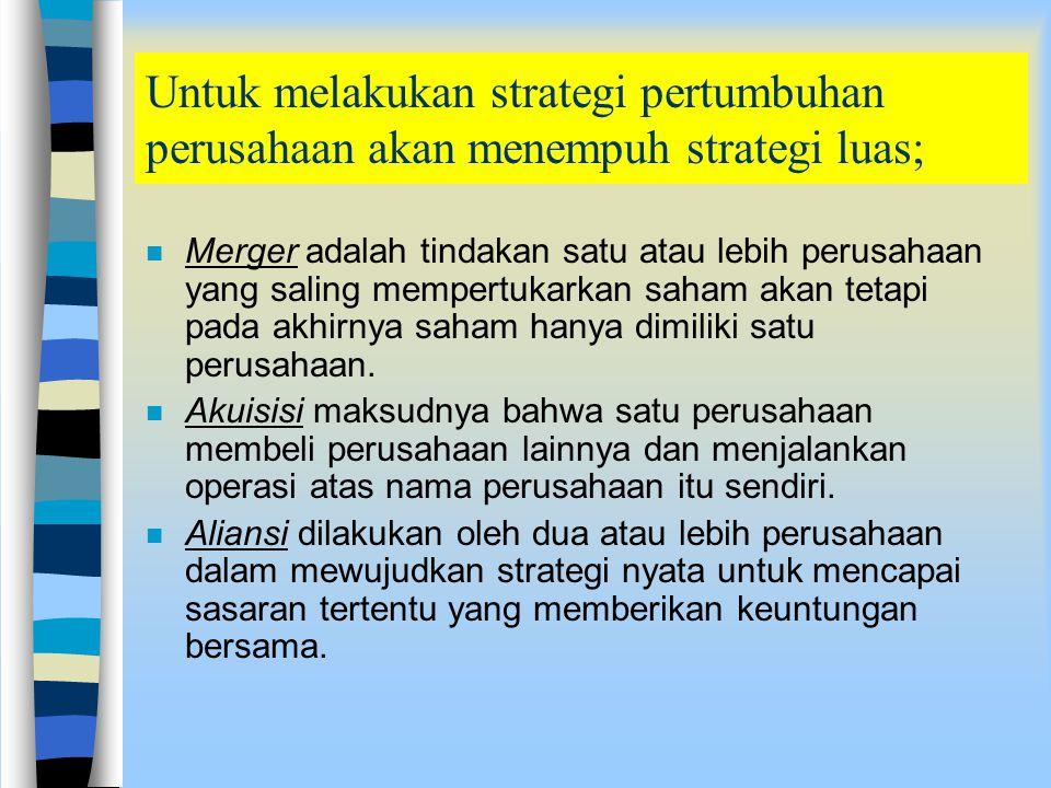 Strategi Pertumbuhan n Dirancang untuk meningkatkan penjualan, pertumbuhan aset, keuntungan, atau kombinasinya. n Pada umumnya ada dua persyaratan unt