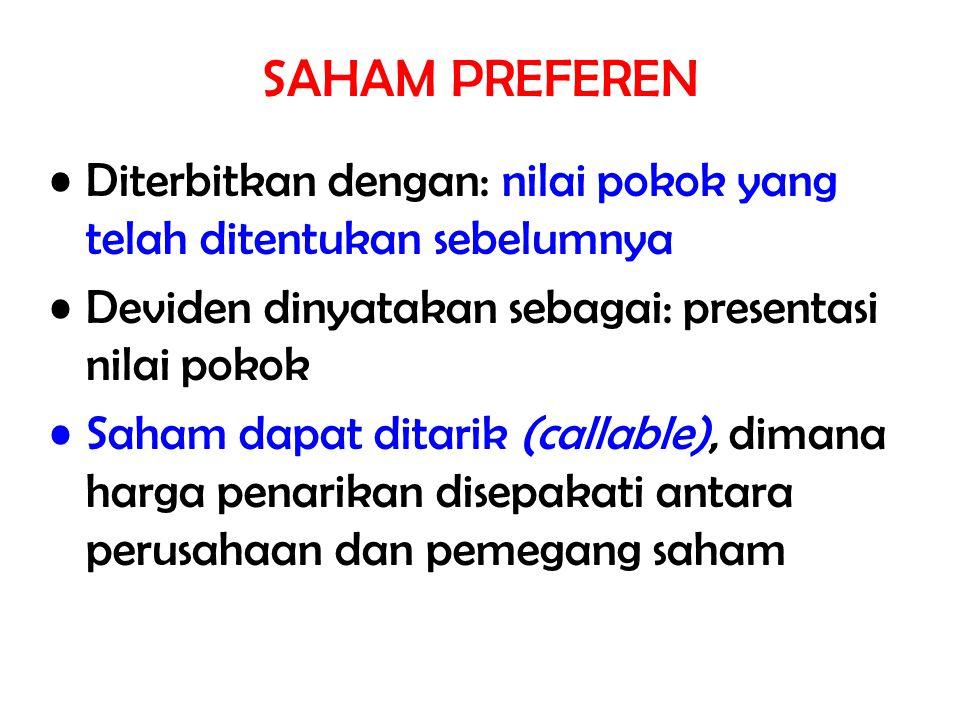 Diterbitkan dengan: nilai pokok yang telah ditentukan sebelumnya Deviden dinyatakan sebagai: presentasi nilai pokok Saham dapat ditarik (callable), di