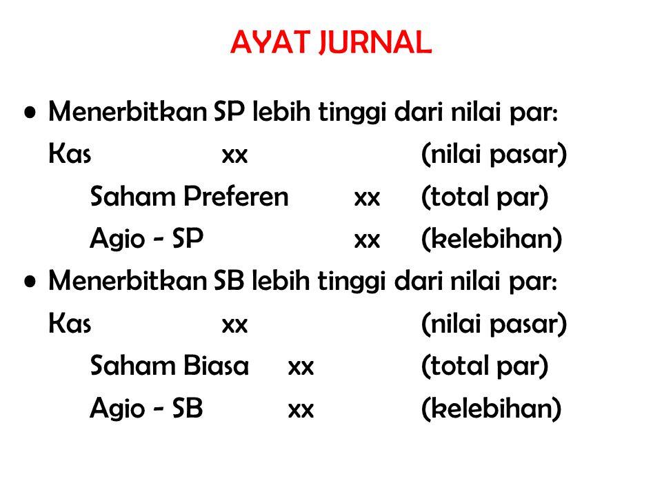 AYAT JURNAL Menerbitkan SP lebih tinggi dari nilai par: Kasxx(nilai pasar) Saham Preferenxx(total par) Agio - SPxx(kelebihan) Menerbitkan SB lebih tin