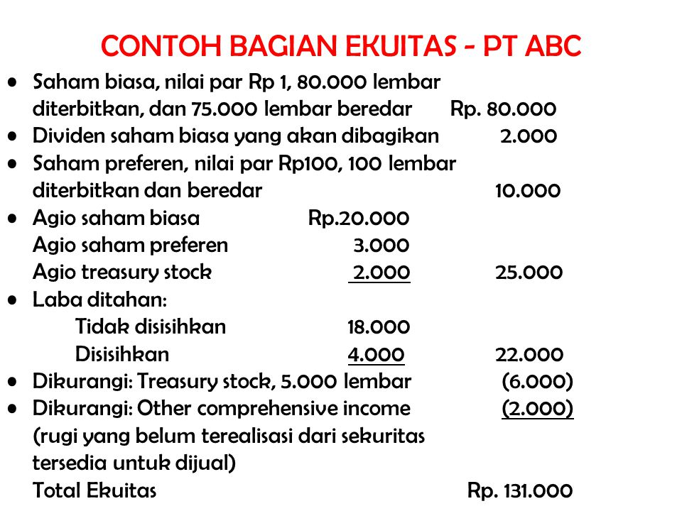 CONTOH BAGIAN EKUITAS - PT ABC Saham biasa, nilai par Rp 1, 80.000 lembar diterbitkan, dan 75.000 lembar beredar Rp. 80.000 Dividen saham biasa yang a