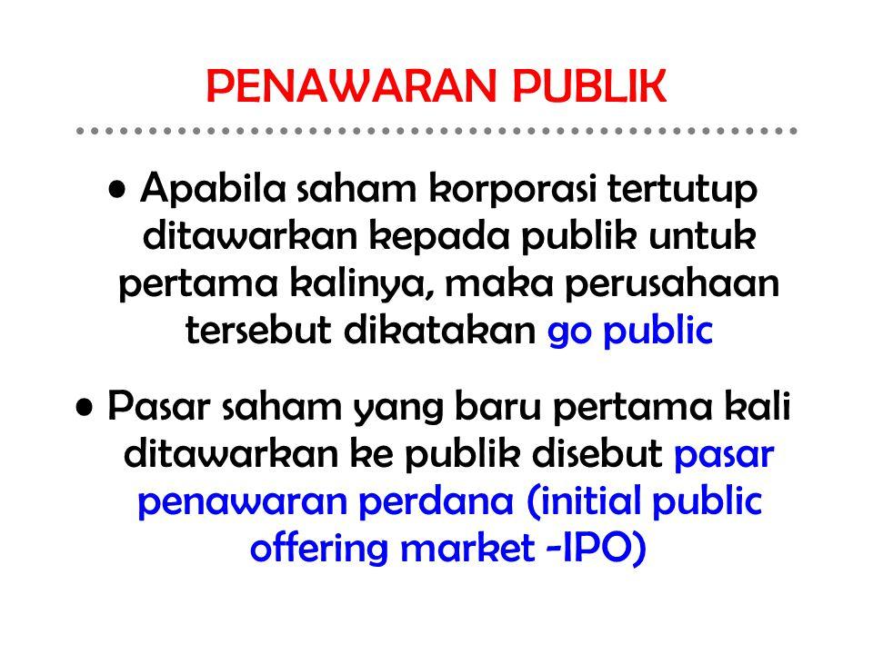PENAWARAN PUBLIK Apabila saham korporasi tertutup ditawarkan kepada publik untuk pertama kalinya, maka perusahaan tersebut dikatakan go public Pasar s